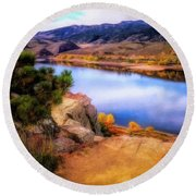 Horsetooth Lake Overlook Round Beach Towel