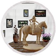 Virtual Exhibition -statue Of Horsewoman 12 Round Beach Towel by Pemaro