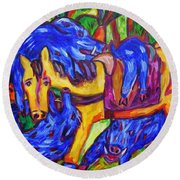 Horsey Tired From Carting Humungous Boars Round Beach Towel