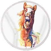 Horsing Around Round Beach Towel