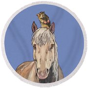 Hortense The Horse Round Beach Towel