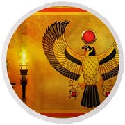 Round Beach Towel featuring the digital art Horus Falcon God by John Wills