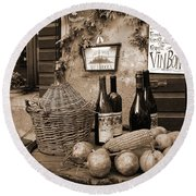 Round Beach Towel featuring the photograph Hostaria Alla Rocca by Donna Corless