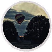 Hot Air Balloon Between The Trees At Dusk Round Beach Towel