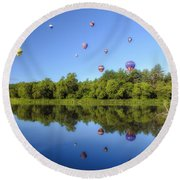 Quechee Balloon Fest Reflections Round Beach Towel