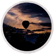 Hot Air Balloon Silhouette At Dusk Round Beach Towel