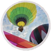 Hot Air Balloon Takeoff Round Beach Towel