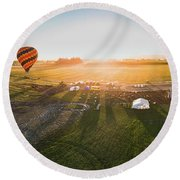 Round Beach Towel featuring the photograph Hot Air Balloon Taking Off At Sunrise by William Lee