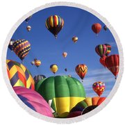 Beautiful Balloons On Blue Sky - Color Photo Round Beach Towel