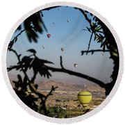 Hot Air Balloons In Cappadocia, Turkey Round Beach Towel