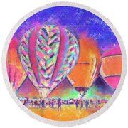 Hot Air Balloons Night Festival In Pastel Round Beach Towel