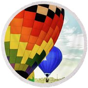 Hot Air Balloons Over Trees Round Beach Towel