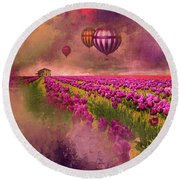 Hot Air Balloons Over Tulip Fields Round Beach Towel