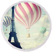 Hot Air Balloons In Paris Round Beach Towel