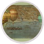 Round Beach Towel featuring the digital art Hot Air Baloons Over Venus by Jeff Burgess