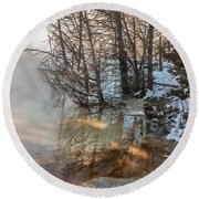 Hot And Cold In Yellowstone Round Beach Towel