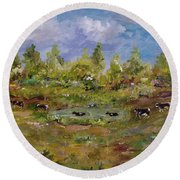 Round Beach Towel featuring the painting Hot August Afternoon by Judith Rhue