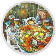 Hot Boiled Crabs Round Beach Towel