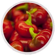 Hot Cherry Peppers Round Beach Towel