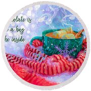 Round Beach Towel featuring the digital art Hot Chocolate 2016 by Kathryn Strick