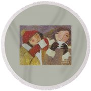 Round Beach Towel featuring the painting Hot Chocolate by Glenn Quist