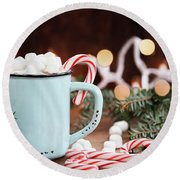 Hot Cocoa With Marshmallows And Candy Canes Round Beach Towel by Stephanie Frey