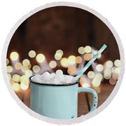 Hot Cocoa With Mini Marshmallows Round Beach Towel by Stephanie Frey