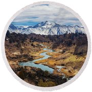 Round Beach Towel featuring the photograph Hot Creek by Tassanee Angiolillo