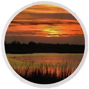 Round Beach Towel featuring the photograph Hot Mud Flats by Laura Ragland