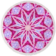 Hot Pink And Blue Round Beach Towel by Shirley Moravec