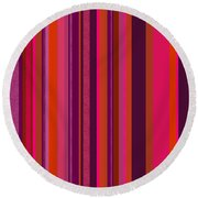 Hot Pink And Orange Stripes - Two Round Beach Towel