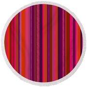 Hot Pink And Orange Stripes Round Beach Towel
