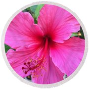 Hot Pink Hibiscus  Round Beach Towel by Russell Keating