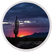 Round Beach Towel featuring the photograph Hot Pink Saguaro Sunset  by Saija Lehtonen