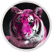 Hot Pink Tiger Round Beach Towel
