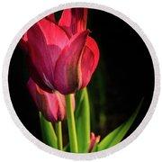 Hot Pink Tulip On Black Round Beach Towel