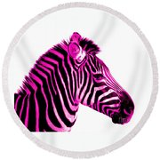 Hot Pink Zebra Round Beach Towel