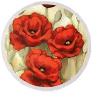 Hot Red Poppies Round Beach Towel