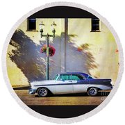 Hot Rod Bel-air Round Beach Towel by Craig J Satterlee