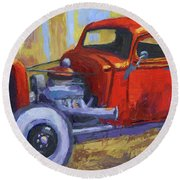 Hot Rod Chevy Truck Round Beach Towel