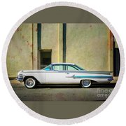 Hot Rod Impala Round Beach Towel by Craig J Satterlee