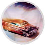 Hot Rod Racer Round Beach Towel