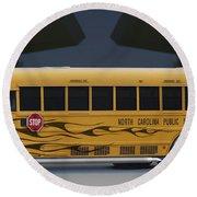 Hot Rod School Bus Round Beach Towel