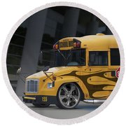 Hot Rod School Bus Round Beach Towel
