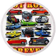 Hot Rods Forever Round Beach Towel