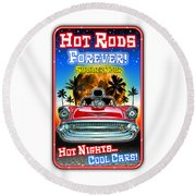Hot Rods Forever Summer Tour Round Beach Towel
