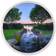 Hot Spring Water Flow Round Beach Towel