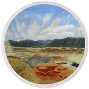 Round Beach Towel featuring the painting Hot Springs by Linda Feinberg