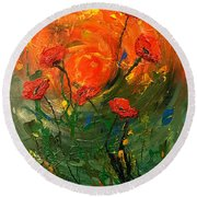 Hot Summer Poppies Round Beach Towel by Dorothy Maier