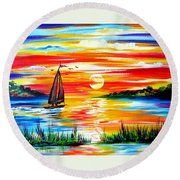 Hot Summer Sunset  Round Beach Towel